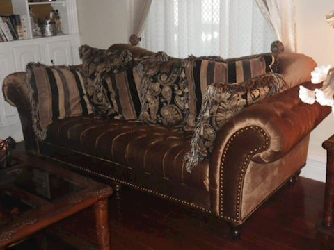 Bronze Tufted Sofa with 6 Throw Pillows