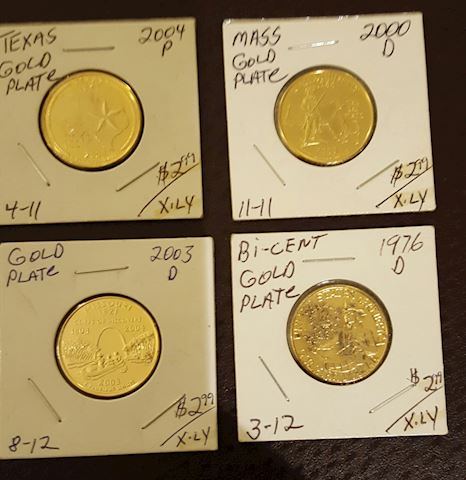 Collection of 4 Uncirculated Gold Plated Quarters