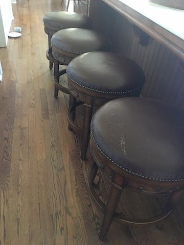 4 Low Kitchen Bar Stools - Wood & Leather
