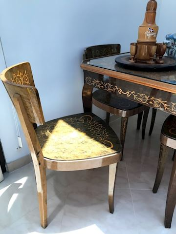 Italian Inlaid Lacquered Wood Game Table & Chairs