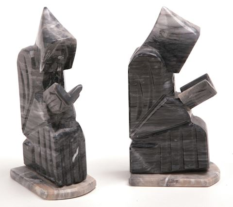 2 Vintage solid marble onyx monk book-ends