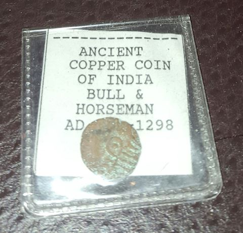 Ancient Copper Coin of India Bull & Horseman