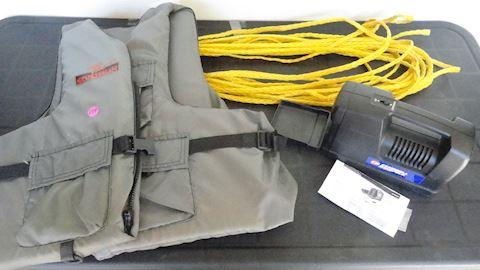 Life vest, Water ski Rope & compressor Lot #174
