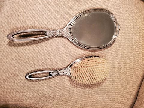 Antique Sterling Silver brush and mirror set