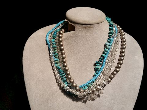 VILLASANA 5 STRAND WITH TURQUOISE, AND CRYSTAL 17""