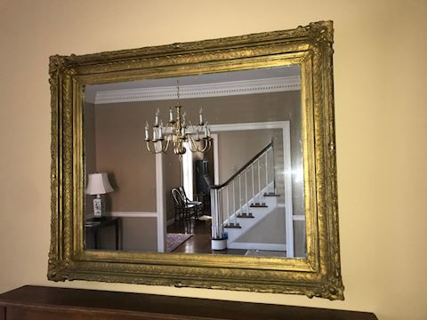 Antique Plate Glass Mirror with Gold Frame