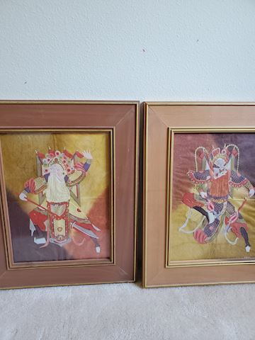 Pair of two Japanese paper art warriors