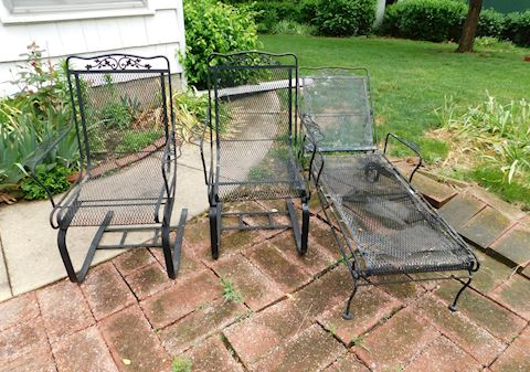 216 2 Rocking Wrought Iron Chairs
