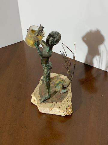 Liv.   511.   Bronze Boy w/ Frog on Stone