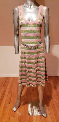 John Galliano knit dress pink olive metallic