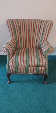 Beautiful upholstered stripe wingback Queen Anne C