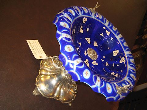 Blue Glass on silver plated stand