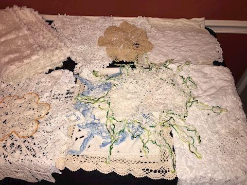 Big lot vintage linens, handwork, doilies