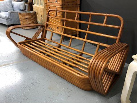 Vintage Paul Frankl style 6 banded rattan sofa