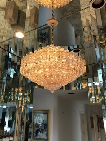 Mid Century Large Crystal Square Shaped Chandelier