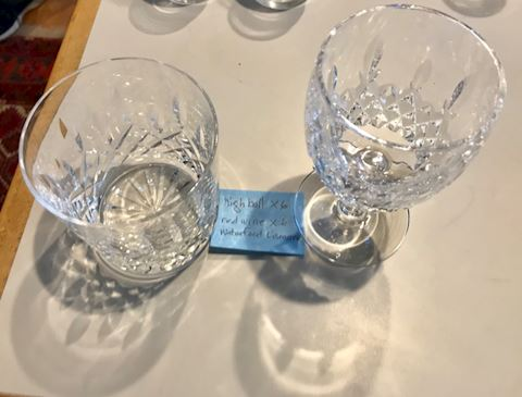 """Waterford """"lismor"""" highball and wine glasses"""