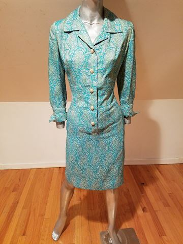 60's Aqua Metallic gold brocade coat dress Buttons