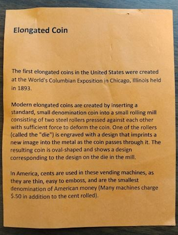 Elongated Coins w/  mini description