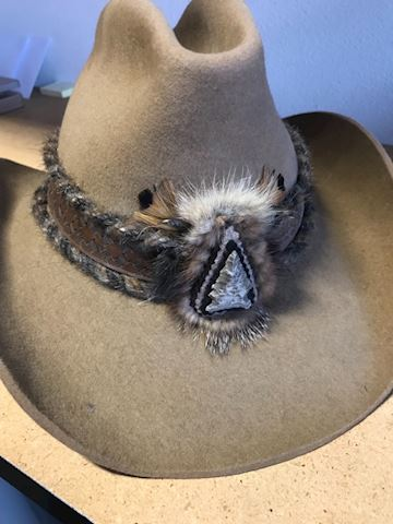 Vintage beaver hat with feathers handmade
