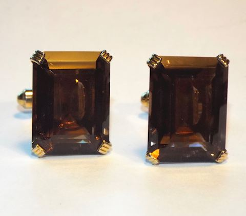 1960s Vintage Smoky Quartz Mens Cufflinks