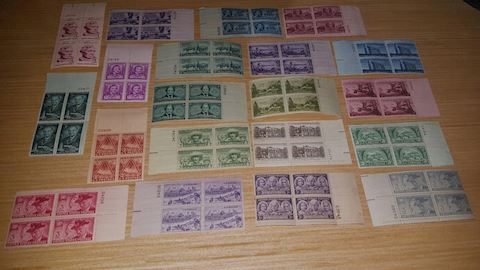 Huge Plate Block Asst of Vintage 3 Cent Stamps