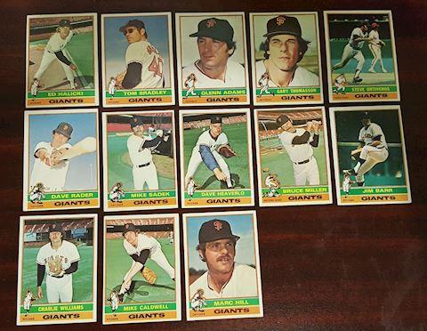 13 Old 1976 San Francisco Giants Baseball Cards
