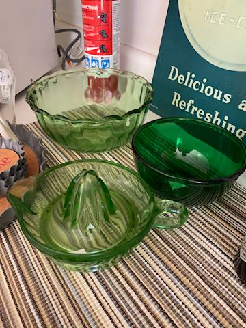 Green Depression Glass &  Bulloch House cookbook