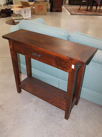 Brown Wood Sofa Table with 1 Drawer
