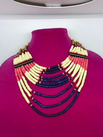 African seed bead necklace with brass connectors