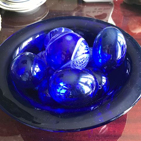 Cobalt blue etched balls & eggs