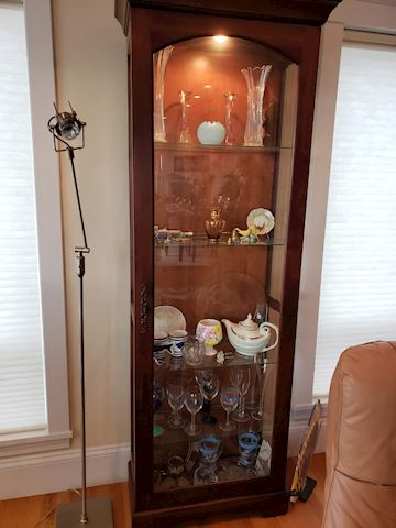 Tall skinny Lighted Curio Cabinet with lock & key