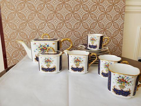 Blue floral tea set Magna Sergo Japan