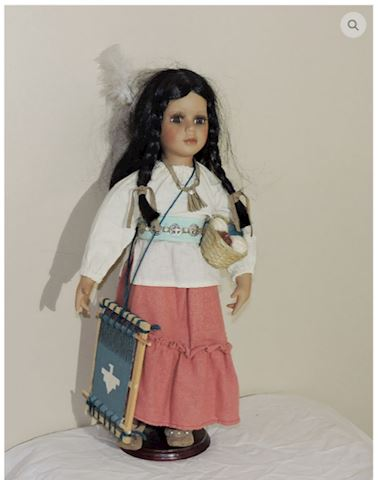 """Porcelain Indian Girl 18"""" Height w/ Period Dress"""