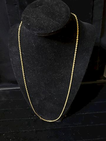 "10k gold, 24"" Solid Rope Chain, Diamond Cut"