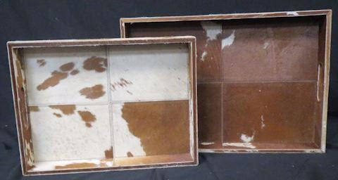 Made Good Decorative Rectangular Trays Cow Skin