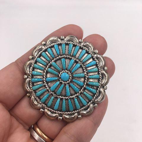 Zuni Native American Sterling Silver Turq. Pin JV