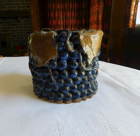 002 Hand Sculpted Stoneware Pot with Grapes