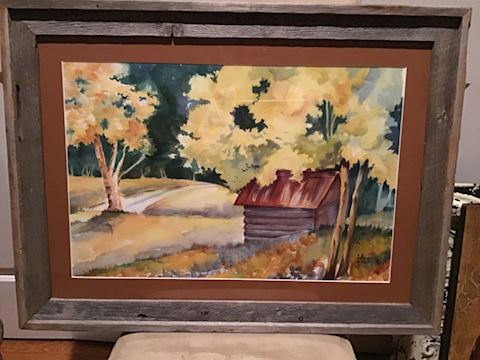 Original Watercolor in custom barn wood frame