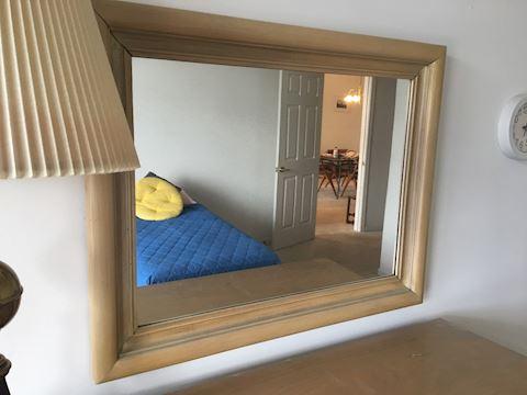 Vintage Large Blond Wood Frame Mirror
