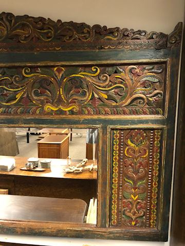 INDONESIAN HAND CARVED HAND PAINTED MIRROR