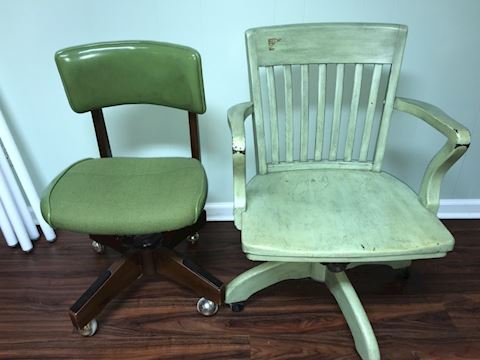 Vintage green rolling office chairs