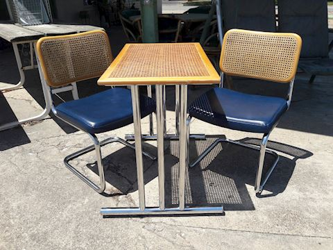 Vintage Mid Century Cane back & table top set