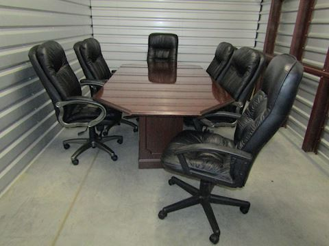 Office Conference Table with 6 leather chairs