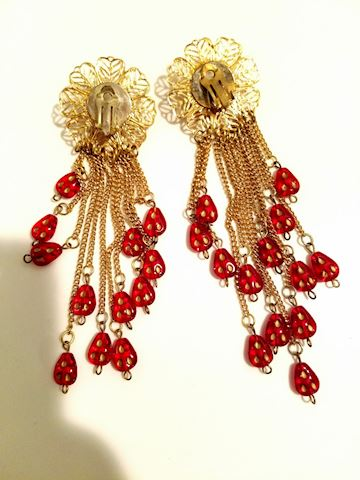 Ruby Celluloid Long strand earrings gold Filigree