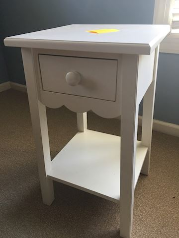 Small One-Drawer White Bedside Table