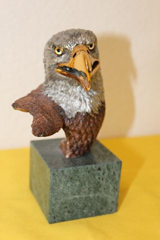 Brass finished Eagle bust statue