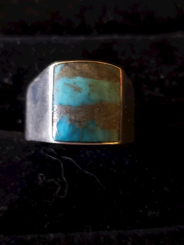 14 1/2 Sterling Silver Turquoise ring, Signed
