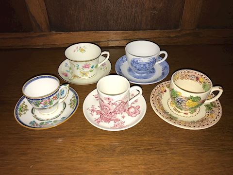 Lot of 5 Demitasse Cups & Saucers