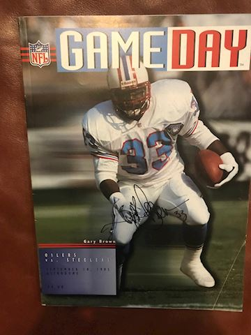 Oilers Game Day Magazine autographed by Gary Brown