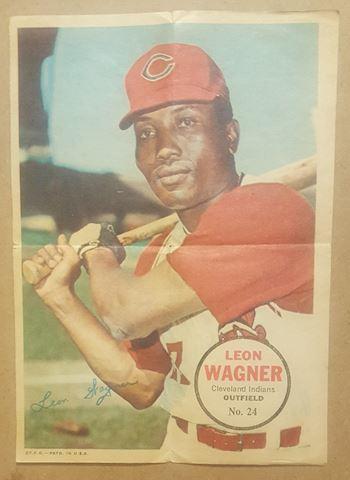 Old 1967 Leon Wagner Topps Poster Insert #24